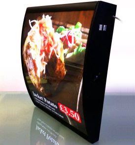 An LED Curved Menu Box